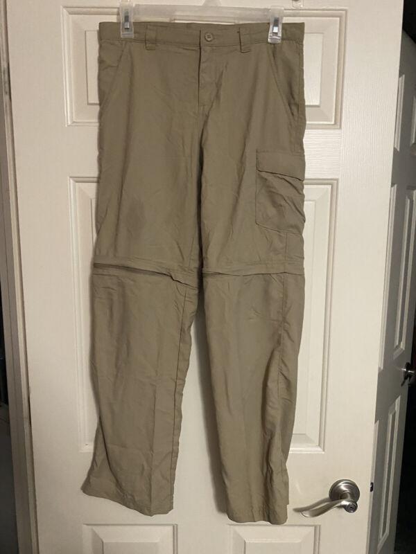 Columbia Omni Shade Boys Sz L Zip Off Convertible Pants Khaki 14-16 Hiking
