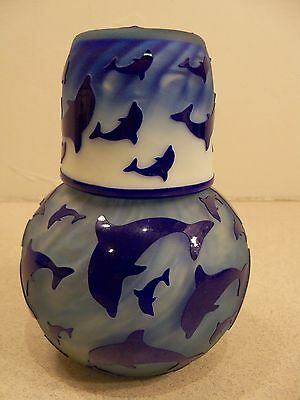 Gibson Glass Blue Dolphin Sand Carved Tumble Up Guest Set Item 1538
