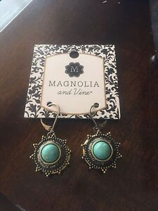 Magnolia and Vine Snap Earrings. New