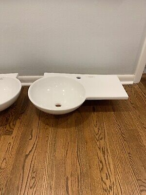 Barclay-Gina Pedestal Basin, Left Bowl, One-Hole, White LB271-WH New Barclay Lavatory Bowl