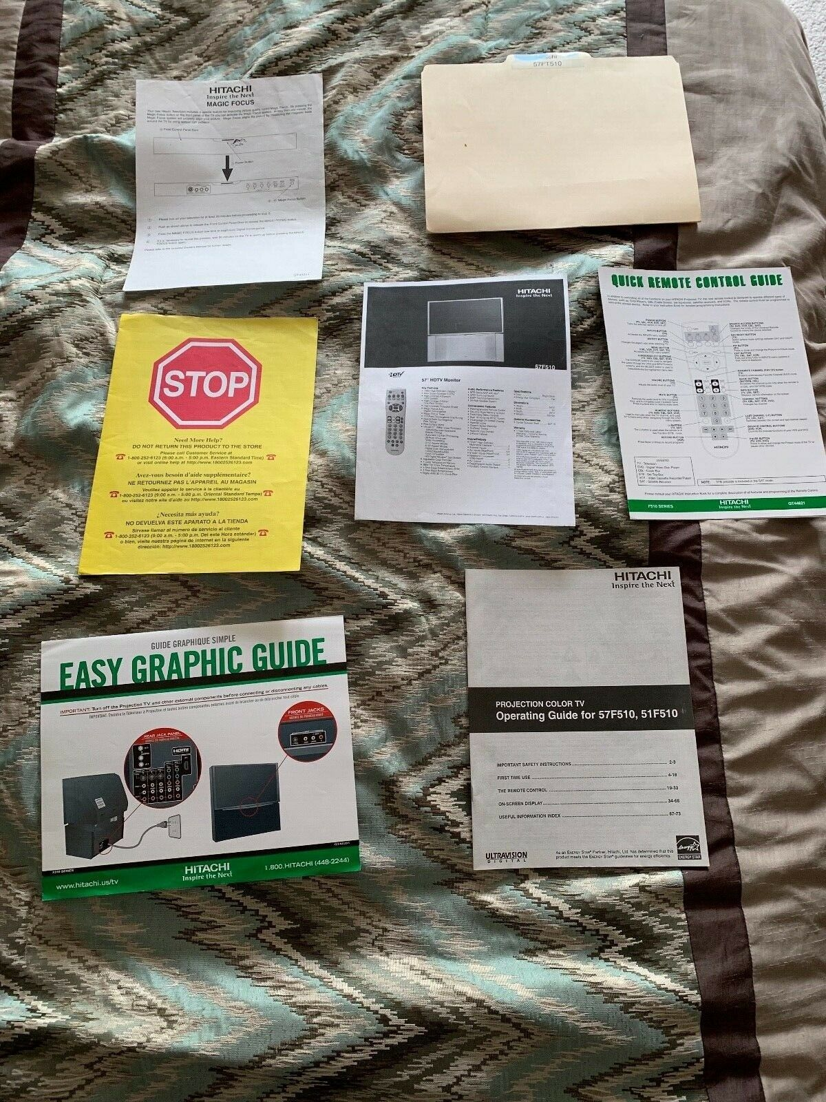 HARD TO FIND! Hitachi 57F510 and/or 51F510 Projection TV Original Manuals Plus