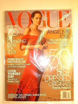 VOGUE Magazine January 2007 featuring ANGELINA JOLIE. Still in plastic wrap.
