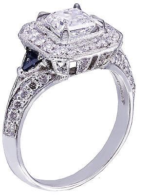 GIA F-VS2 18k White Gold Asscher Cut Diamond Engagement Deco Halo Ring 1.45ctw 6