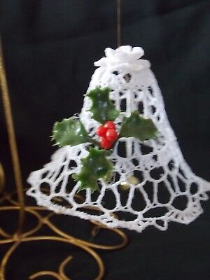 Vintage Crochet Starch Bell Christmas Ornament