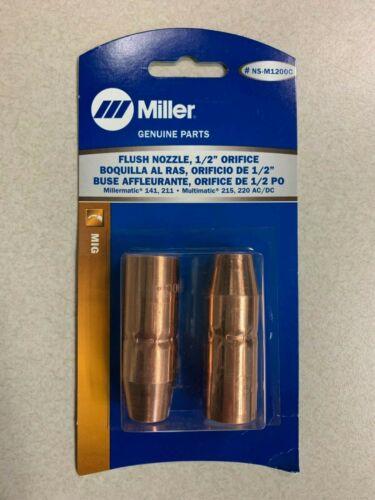 """Miller NS-M1200C Nozzle 1/2"""" FLUSH MDX-100 Mig Welding 141 211 215 220 (2-Pack)"""