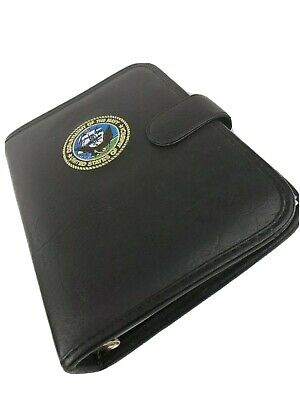 Dept Of The Navy Usa Black Leather Planner Organizer 3-ring Binder 10.5 X 7