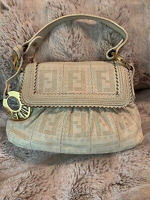 Rare Vintage Fendi White Zucca Perforated Leather Mini Chef Bag Mini Tote Clutch
