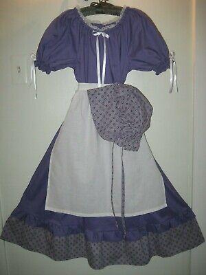 Girls 14 16  Pioneer Colonial Prairie Frontier Country Trek Dress Bonnet Apron
