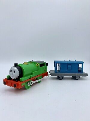 Thomas & Friends Motorized Trackmaster Percy 6 With Blue Caboose Brake Van