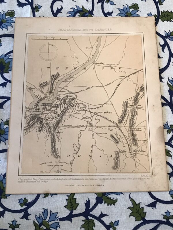 ANTIQUE 1877 CHATTANOOGA & ITS DEFENCES MAP CHICKAMAMAUGA & RINGGOLD