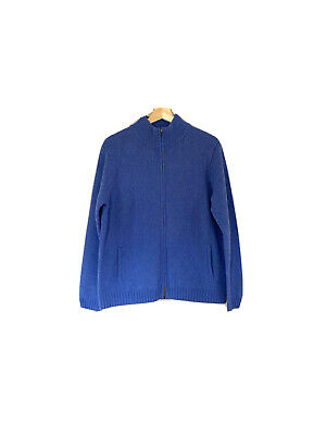 EUC Irelands Eye Blue Zip Up Sweater Cardigan Jacket Sz XL Soft Wool Cashmere