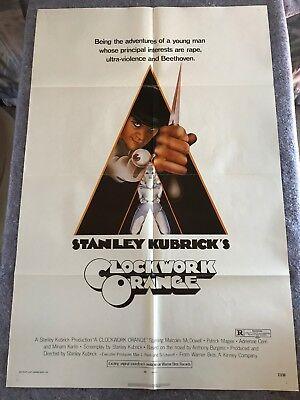 "A CLOCKWORK ORANGE 1972 ORIG. 1 SHEET MOVIE POSTER 27""x41"" (VF) STANLEY KUBRICK"