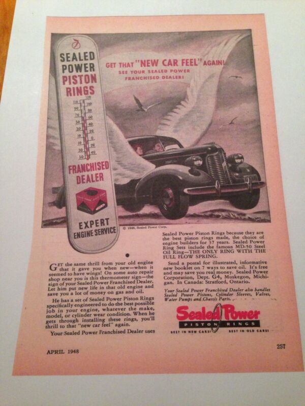 1948 SEALED POWER PISTON RINGS  As/ Copy Garage Man Cave Awesome Graphics