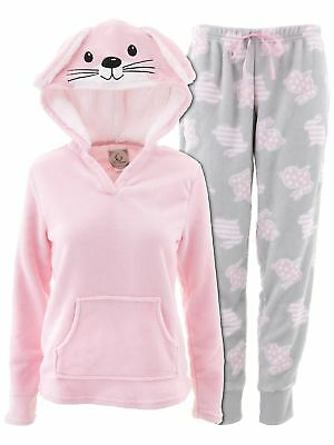 PJ Couture Women's Bunny Hooded Pink Pajamas