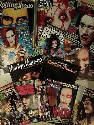 "RARE VINTAGE COLLECTION OF ""12"" MARILYN MANSON MAGAZINES AND BIOGRAPHY"