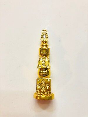 """3"""" FENG SHUI BEJEWELED 5 YELLOW FIVE ELEMENT PAGODA USA SELLER"""