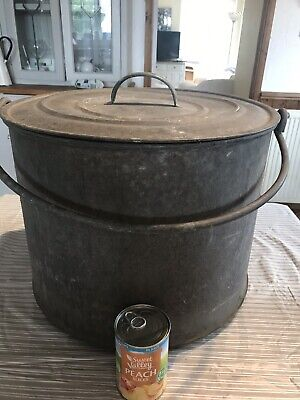 Vintage Galvanised Heavy Gauge Steel Lidded Cylindrical Drum With Riveted Handle