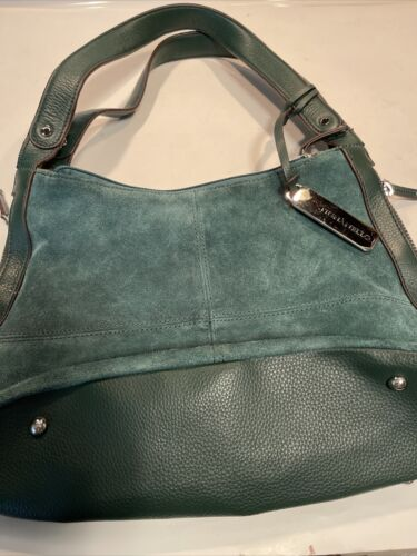 Tignanello Suede Leather Handbag Purse Shoulder Bag Expandable Green K-bin - $17.99