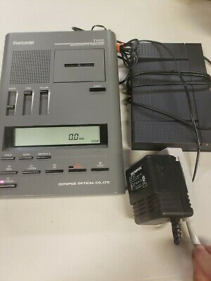 Olympus Pearlcorder T1100 Microcassette Transcriber W Foot Pedal Power Supply