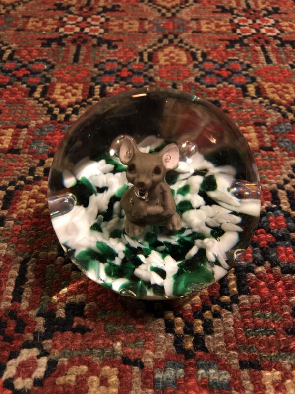 1996 Gibson Sulfide Art Glass Standing Mouse Paperweight