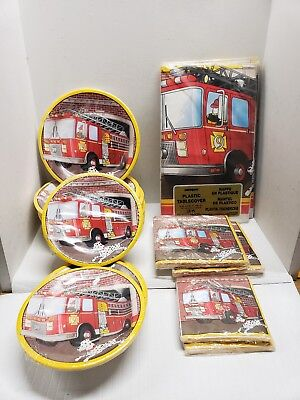 Lot of Vintage Party Fire Engine Plates, Tablecloths, and Napkins - Fire Engine Party