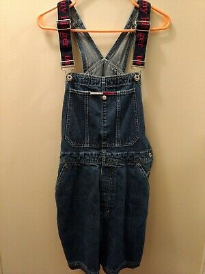36e85925 Vintage 90s Womens Medium Tommy Hilfiger Spell Out Short Overalls
