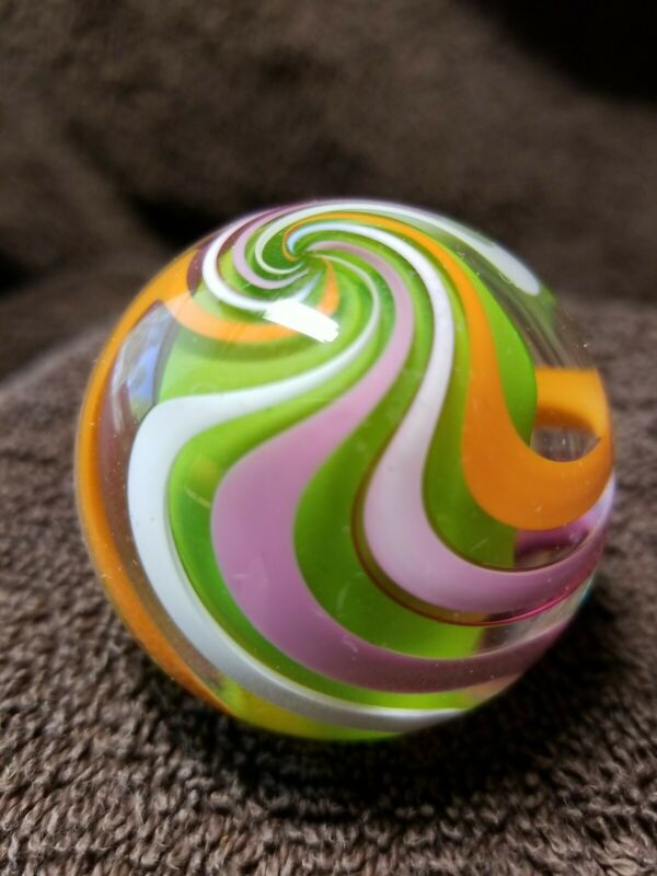 """Handmade Solid Core Swirl Marble, Signed Sam Hogue 05, 1-3/4"""", Gr Core, 15"""