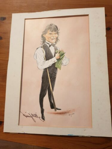 Jimmy White snooker player SIGNED caricature print  measures 19cm x 27cm
