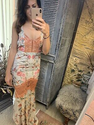 Hope And Ivy - Fish Tail Maxi With Orange Lace - Size 8 - Asos