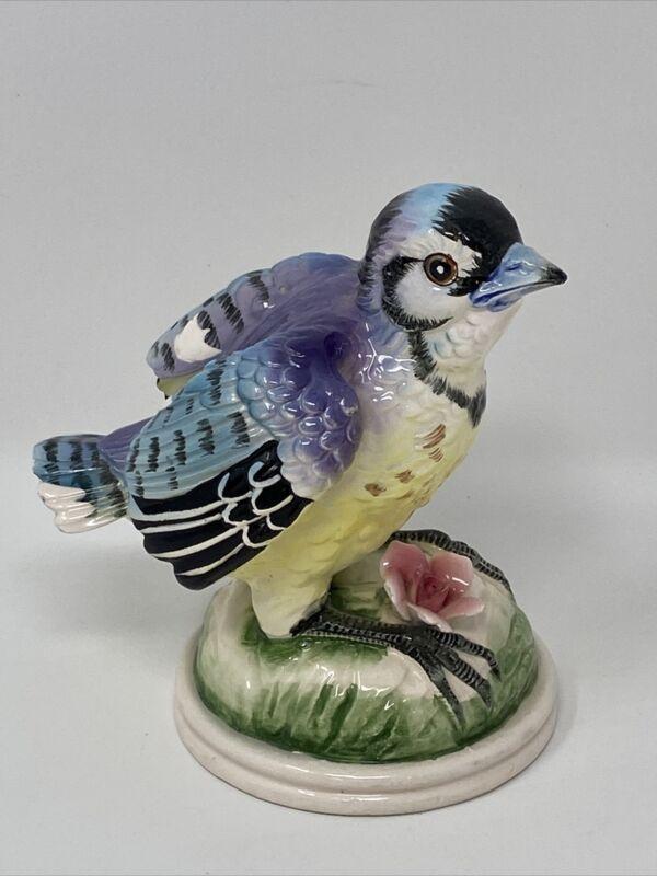 Vintage Japan Lefton ? BLUE JAY Bird FIGURINE