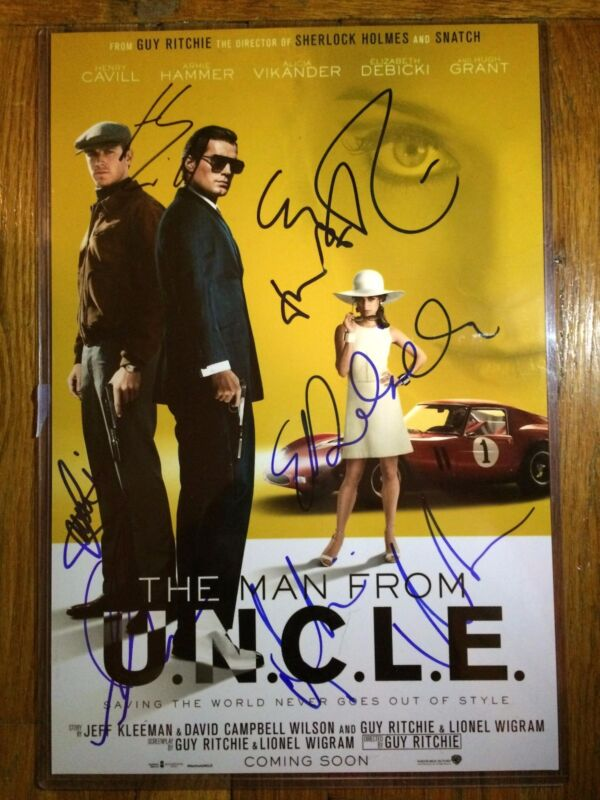 HENRY CAVILL ALICIA VIKANDER SIGNED MAN FROM UNCLE 12X18 POSTER PHOTO! AUTOGRAPH