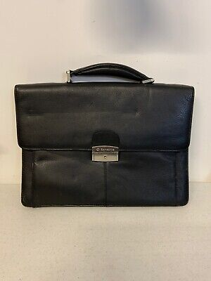 SAMSONITE Business Briefcase Black Full Grain Leather Flapover Portfolio