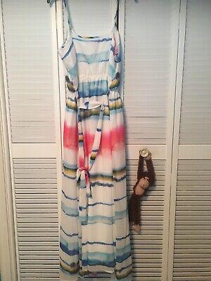 $148 Multi Color Tie-Dye Striped Chiffon Sleeveless Lined Maxi Dress Size L Chiffon Tie Dye Tie