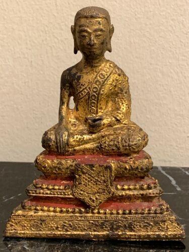 "Vintage Thai Gilded Bronze Seated Buddha 4"" Tall"