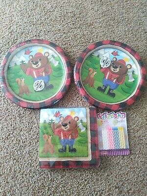 NEW Lum-Bear-Jack Theme Plates and Napkins Serves 16 With Birthday Candles