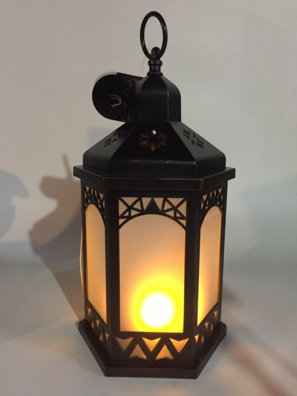 """Halloween LED Lantern Prop Decoration Haunted Hollow Realistic Flame 14"""" New"""