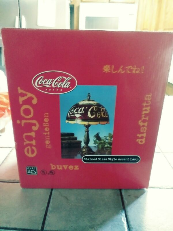 Coca Cola Stained Glass Style Accent Lamp In Original Box NEW  (M10)