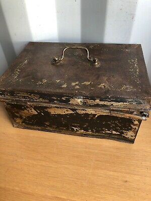 Vintage Metal Money Cash Storage Deed Box, Industrial Displays Tin, Prop Display