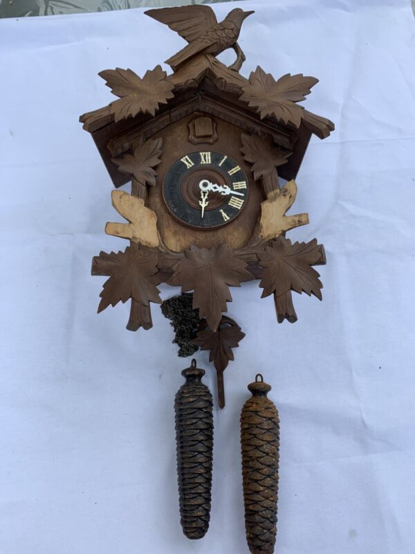Vintage Antique Early Musical German Cuckoo Clock Large Weights Y3