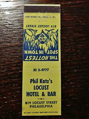Vintage Matchcover: Phil Katz's Locust Hotel & Bar, Philadelphia, PA YY