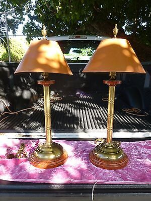 -  PAIR OF 70'S BAMBOO BRASS LAMPS W REVERSE TORTOISE SHELL SHADES A LA PALM BEACH
