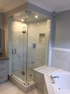 Frameless shower glass doors enclosures office railing stairs