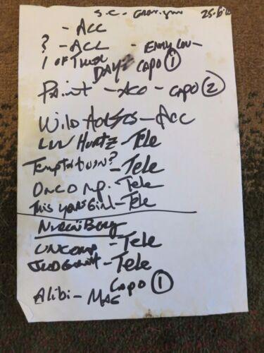 Elvis Costello handwritten setlist + coa! Elvis Costello & the Imposters 2005