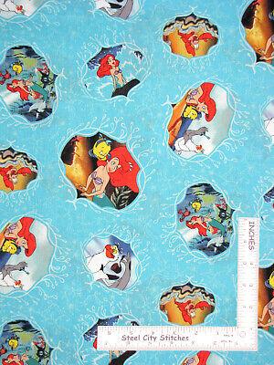 Disney Little Mermaid Characters Aqua Cotton Fabric Springs CP63755 By The Yard - Mermaid Characters