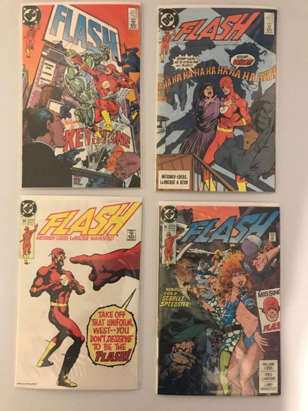 Flash LOT: 32, 33, 34, 35 Lot- 1989 - 1990 - Near Mint - Wally West