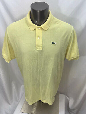 LACOSTE Men's Yellow Croc Short Sleeve Polo Golf Shirt Size 8