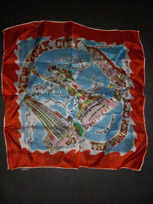 Vintage Antique Souvenir New York City Landmarks Square 100%  Silk-Handkerchief