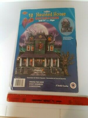 "12"" Vintage Halloween Cardboard Haunted House Decoration Beistle Unopened Unused"