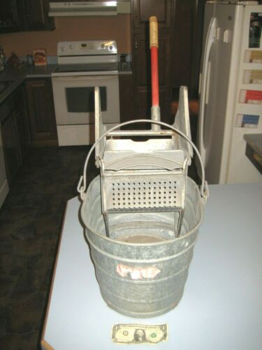 Vintage Antique White Galvanized 6 Gal.Mopping Bucket & Mop Wringer Paper Label