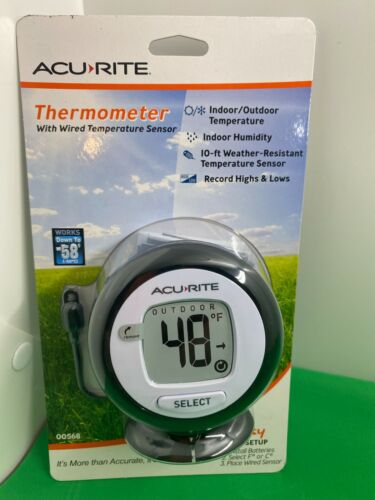 Acu-Rite Digital Thermometer Wired 10 Ft Temperature Sensor Probe & Humidity New